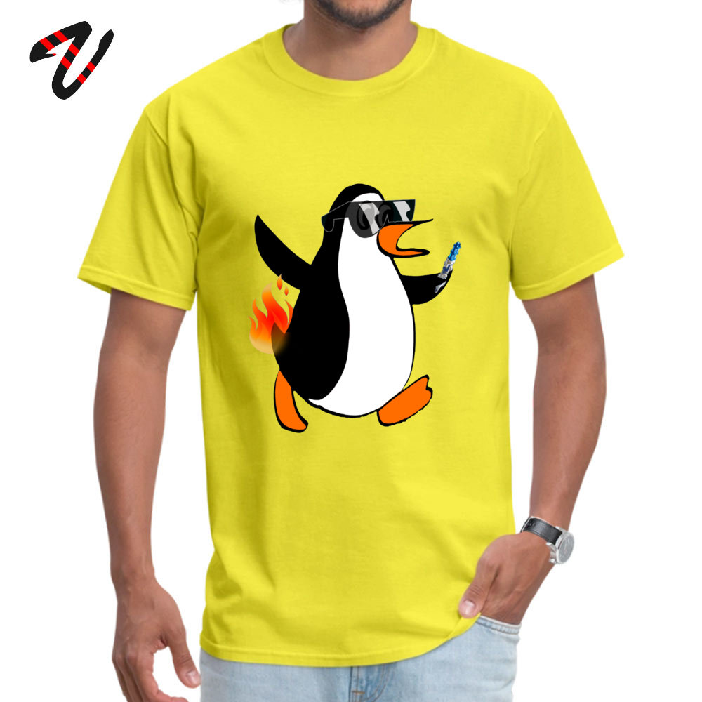 Street Printed T Shirt for Men Discount Summer Fall Round Neck 100% Cotton Short Sleeve T Shirt Funny T-shirts Like a Penguin With His Butt on Fire 13242 yellow