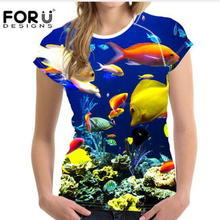 Buy FORUDESIGNS Dolphins Brand T-shirt Women Clothing,Ladies Summer Short Tees Shirt Femme Ocean Blue Feminine Elastic Shirts Mujer for $16.99 in AliExpress store