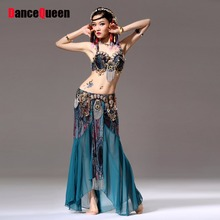 Women Bollywood Dance Costumes Bra&Belt&Skirt Lady Danza Tribal Belly-dance Gypsy Clothes Belli Dancer Danza Tribal Top Verde
