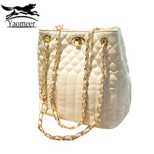 High Quality Women Chain Crossbody Bags Female Handbags Famous Brand Quilted Lock Leather Bucket Shoulder Bag Leisure White Tote