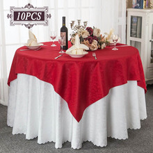Wholesale 10PC Round Crochet Tablecloth Square Table Cover Chair for Wedding Decorative Table Cloth Oval Table Linens Outdoor(China)
