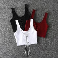 Jellpe Lace Up Crop Top Women 2017 Sexy Deep V Neck Criss Bandage Tank Top Camisole Sleeveless Vest Summer Tops Bralette(China)