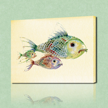 FREE SHIPPING Lovely Fishes Painting Canvas Art Painting Canvas Paintings Oil Painting(Unframed)75x100cm(China)