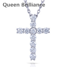 Queen Brilliance 1.1ctw Lab Grown Moissanite Diamond Cross Pendant Necklace Platinum Plated 925 Sterling Silver For Women