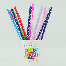 25pcs/Lot Polka Dot Paper Straws Green Biodegradable Disposable Pipette Birthday Party Wedding Colored Dot For Party