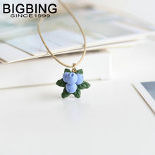 BIGBING Jewelry Fashion ceramic blueberry beads pendant necklace Hand knitting necklace high quality Free shipping C165