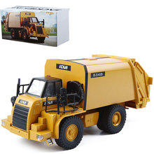 1:50 Engineering Vehicles Garbage Truck All Metal Car Toy Mine Transport Vehicles Electronic Pull Back Traffic Model Cars Toys(China)