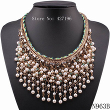 2017 Fashionable New Design Pearl Necklace Gold Color Chain Choker Chunky Tassel Pendant Necklace For Young Girls Gifts