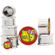 2pcs/Lot 316L Steel Hello Kitty Zombie Saddle Ear Plug Flesh Tunnel Piercing Gauge Stretcher Expander 6MM-20MM 0G-3/4'' 10mm