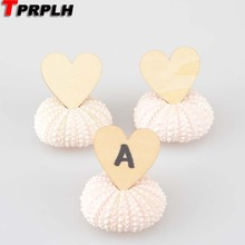 10sets Light Pink Sea Urchin Place Card Hold for Beach Wedding Natural Shell Conch Reception Table Chic Decor Home Decoration(China)