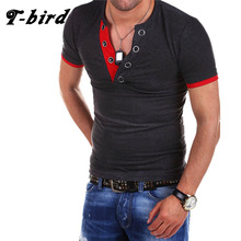 T-Bird New Brand 2017 Male Slim Fit T Shirt Fight V Collar Mens Cotton Short Sleeve T-Shirts Men Summer Tee Casual Tshirt Men