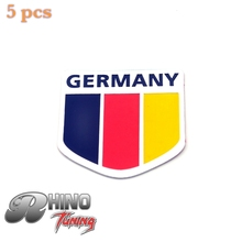 5PC Germany Flag Shield Boot Rear Car Emblem For Golf MK3 MK4 GTI Eos Jetta Tiguan Bora Polo Side Wing Auto Sticker Badge 081