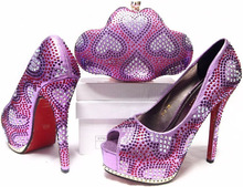 LILAC!!!JA10-4-4 Directly selling Italy style shoes and bag match,Super quality evening bag and shoe set free shipping by dhl