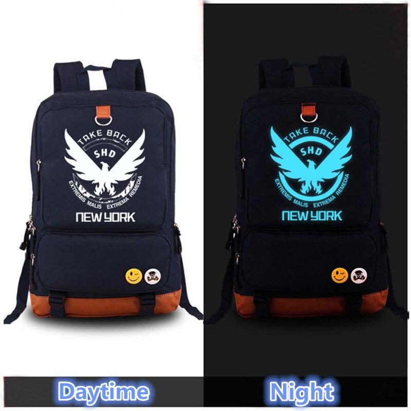 2017 High Quality Game The Division Blue Luminous Laptop Printing Backpack Canvas Bag School Men Women Rugzak Mochila Feminina<br>