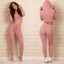women sets 2017 new couture fashion split hooded solid hot sale hot sale clothing 6944