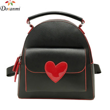 DORANMI Solid Heart Decorated Women's Backpack 2017 New Arrival PU Leather Schoolbag For Girls Black/White School Bag SJB052(China)