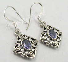 Silver IOLITE Cast Dangle Earrings 3.4CM(China)