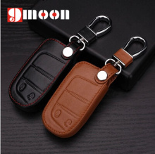 2 Buttons genuine leather car key cover For Jeep Renegade 2014 2015 Grand Cherokee Chrysler 300C Fiat Freemont Auto accessories