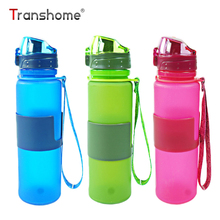 Transhome Folding Water Bottle 350ml 500ml Silicone Foldable Water Bottle BPA Free Leak-proof Collapsible Bottles For Water Tour