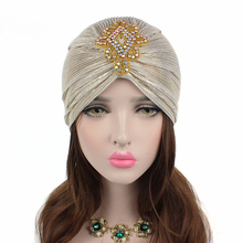 EMS OR DHL 120PCS Free Shipping 2017 New Noble Indian Cap Bronzing Fold Scarf Cap Crystal Diamond Handband