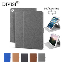 360 Rotating Smart Case For New Ipad 9.7 2017 A1822 A1823  New Design Fabric Pattern with Soft TPU Back Auto Sleep 10pcs DHL