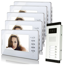 "Brand New Apartment Intercom System 5 White Monitor Wired 7"" Color Video Door Phone intercom System for 5 house FREE SHIPPING(China)"
