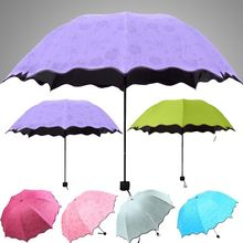 Fashion Colorful Anti-UV Parasol Flower 3 Folding Anti-UV Sun/Rain Stick Umbrella Windproof Umbrella