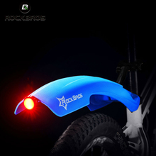 ROCKBROS Flectional Mountain Cycling Front Rear LED Mudguard Set Bike Bicycle Durable Fenders With LED Light Plastic Bike Fender
