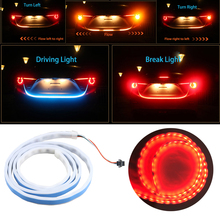 Ice Blue Red Yellow White Rear Trunk Tail Light LED Strip Lighting Dynamic Streamer Brake Turn Signal Reverse Led Warning Light(China)