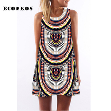 Buy ECOBROS 2017 Summer New Woman Dress casual sleeveless Loose print knee ethnic dresses plus size woman clothing dress for $7.99 in AliExpress store