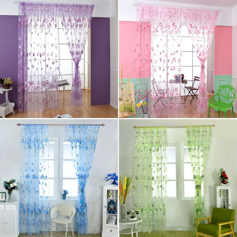 New Tulip Finished Window Curtain Living Room Bedroom Transparent Fabric Film Screen Green/Blue/Pink/Purple