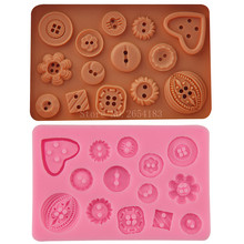 Cartoon Decorative Button Silicone Fondant Soap 3D Cake Mold Cupcake Jelly Candy Chocolate Decoration Baking Tool Moulds FQ3045(China)