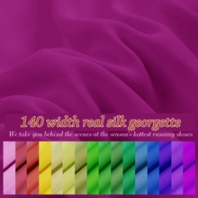 24colors 12momme width 140cm 100% Real Silk georgette fabric pure mulberry fabric for lady full dress t-shirt diy