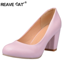 REAVE CAT Plus size 31-43 Fashion Women shoes Mid heels Pump Solid White Black Pink Beige Sweets Leisure Office Career QA3033(China)