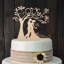 Bride Groom Wood Cake Topper Mr Mrs Tree Cake Topper Wedding Cake Topper Wedding Party Decoration free shipping(China)