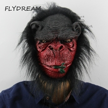 FLYDREAM New Halloween Props Costumes Dress Carnival Parties Full Face Cosplay Gorilla Mask Horror Masquerade Adult Ghost Mask