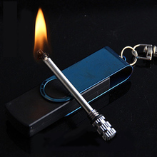 2017 Creative Stainless Steel Torch Lighter Men Kerosene Oil Lighter Flame Key chain Lighter Million Matches Key Decort(China)