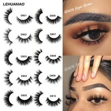 LEHUAMAO Mink Eyelashes 3D Mink Lashes Thick HandMade Full Strip Lashes Cruelty Free Mink Lashes Reusable False Eyelashes Makeup