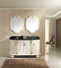 antique white furniture solid wood bathroom cabinet double basin marble top(China)