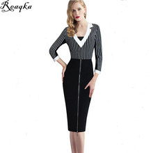 Victoria New Arrivals Striped work office women Dress 2016 high quality V-Neck Overalls womens formal business attire dresses(China)