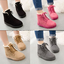 Women's Ladies Lace Up Fur Lined Boots Winter Snow Ankle Boots Flat Shoes