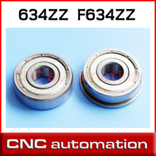 5pcs 634ZZ deep grooves bearing 634 2Z 4x16x5mm miniature cycling ball bearings radial F634ZZ flange bearing(China)