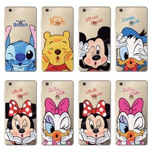 Soft Phone Bag Cases For Huawei P7 P8 P8 lite P9 P9 lite P9 Plus Covers Lovely Minne Mickey Mouse Cartoon TPU Silicone