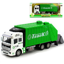 1:32 Upgraded Die Cast Pull Back Sanitation Garbage Truck Model Educational Preschool Kids Toy Gift -Green Diecasts Vehicles
