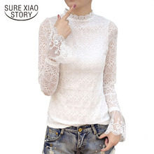 Buy 2018 Spring New Women Clothing Lace Slim Blouse Female Casual Long Flare Sleeve Tops Ladies White Shirt Tops Blusas D251 30 for $10.88 in AliExpress store