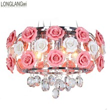 Flower shape glass Modern LED crystal chandeliers restaurant light roses shaped lamp shade Free shipping