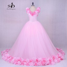 Wedding Dress Princess Luxury Pink Flowes Bridal Gown Romantic Lace-up Ball Wedding Gowns Newest Coming Tulle Gown(China)