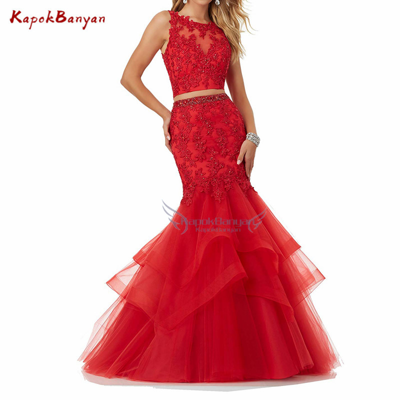 Red Applique Mermaid Two Pieces Prom Dress Sleeveless Zipper Layer Organza Elegant Bodice Trumpet Prom Gown