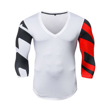 2018 ZRCE Summer New male Sexy Deep V collar fitness basketball boxing high elasticity breathable quuick-drying Training shirt.(China)