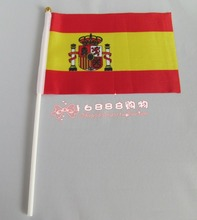 Spanish flag Spanish hand wave flags 14 * 21CM decorative celebration-quality polyester free shipping